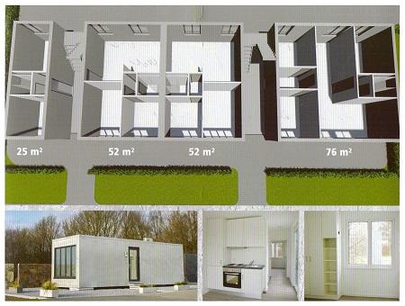 Smartbeton Wohnmudule für schnellen und flexiblen Einsatz (Grafik: Büscher)