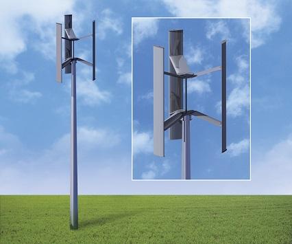 """Sonderpreis """"Klimaschutz mit Stahl"""": Für die Flügel von Windkraftanlagen mit vertikaler Drehachse kann der kostengünstige und ökologisch vorteilhafte Werkstoff Stahl eingesetzt werden. (Quelle: Wirtschaftsvereinigung Stahl)"""