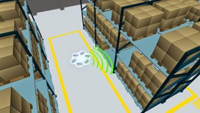 Der autonome Flugroboter soll künftig in der Lage sein, eigenständig zu navigieren und Inventuren durchzuführen. © Fraunhofer IML