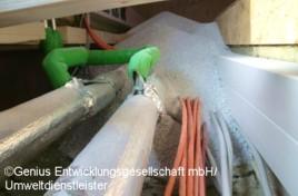 Präventiver Schutz der Leitungen einer Kabelpritsche vor äußerer Flammeneinwirkung sowie untereinander im Falle von Kurzschlüssen. (Bild: Genius Entwicklungsgesellschaft mbH)