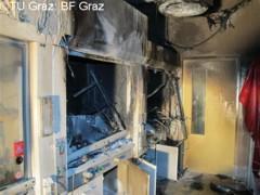 Gefährliche Metallbrände Wie gefährlich Brände in Verbindung mit Lithium sein können, zeigte sich im November 2011 am Institut für anorganische Chemie der TU Graz. Hier kam es in einem Labor bei einem Versuch zu einem Metallbrand. Bild TU Graz: BF Graz Abteilung für Katastrophenschutz und Feuerwehr