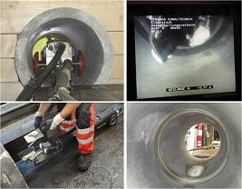 Muffensanierung am Rohrprüfstand für Faserzementrohre mit einem Standardroboter (Bild: TU Wien)